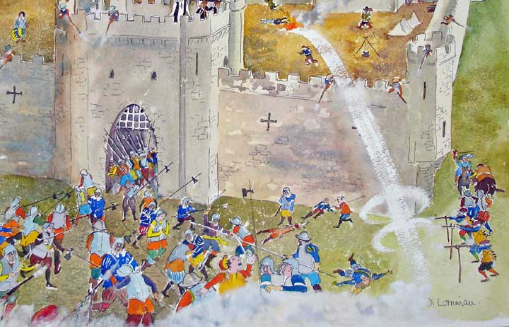 Civil War at Ashby Castle 1644. Painting by Di Lorriman