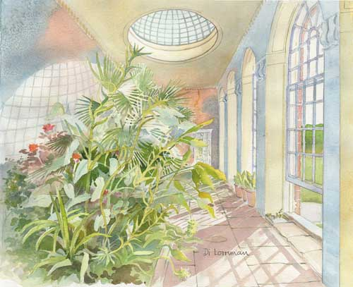 The Orangery at Calke Abbey. Painting by Di Lorriman