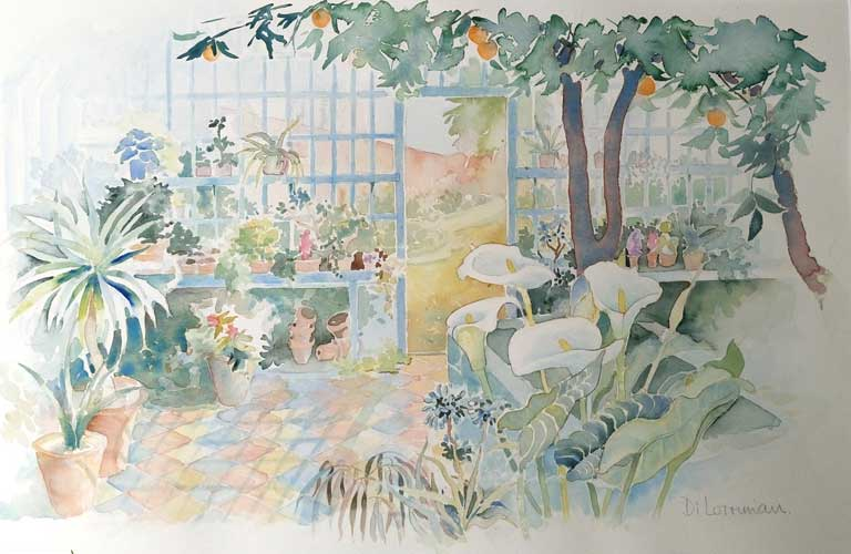 The Orangery at Peckover. Painting by Di Lorriman